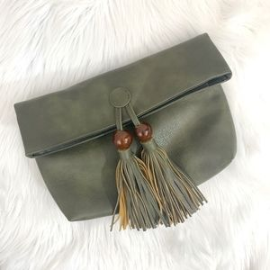 NWT Anthro Olive Green Vegan Leather Clutch {PM}